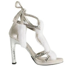 Tom Ford for Gucci Silver Snake White Mink Leather Crystal Platform Shoes 37.5