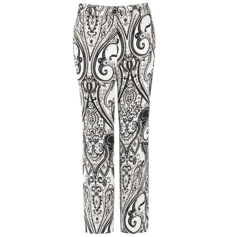"ETRO S/S 2006 Black & White Paisley Print ""Cady"" Pants NWT"