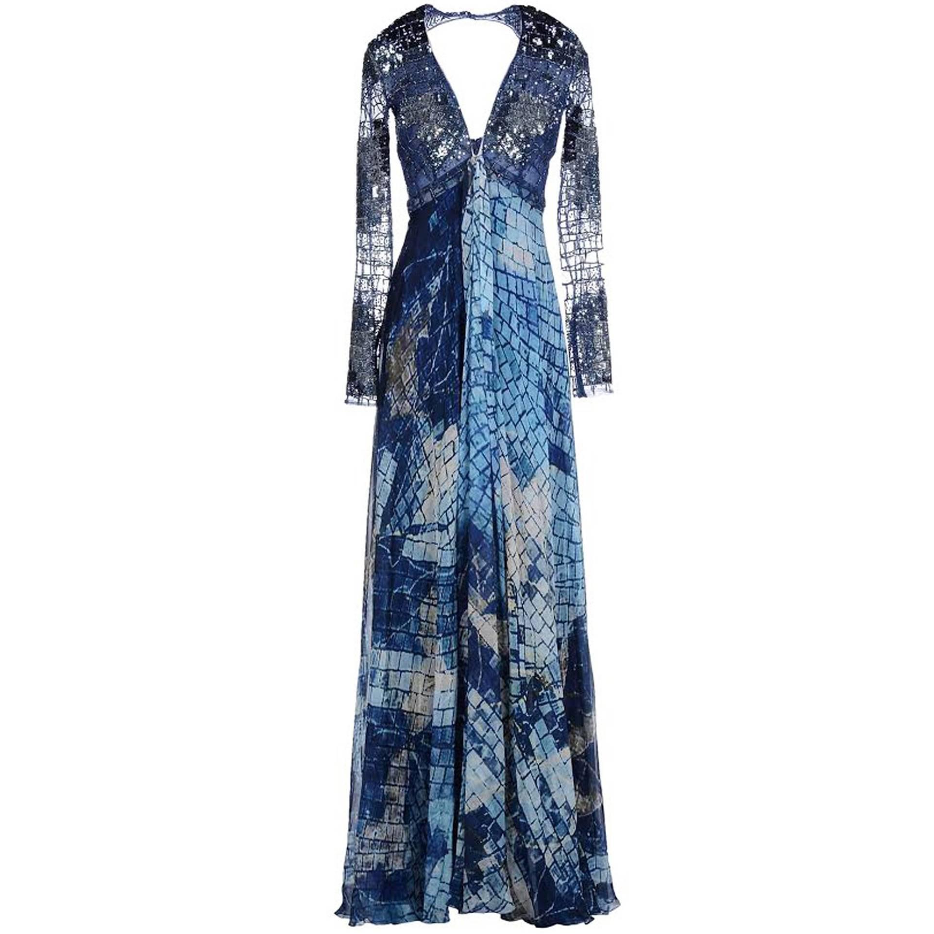 New ZUHAIR MURAD Embellished Ocean Blue Silk Gown It. 38 - US 2