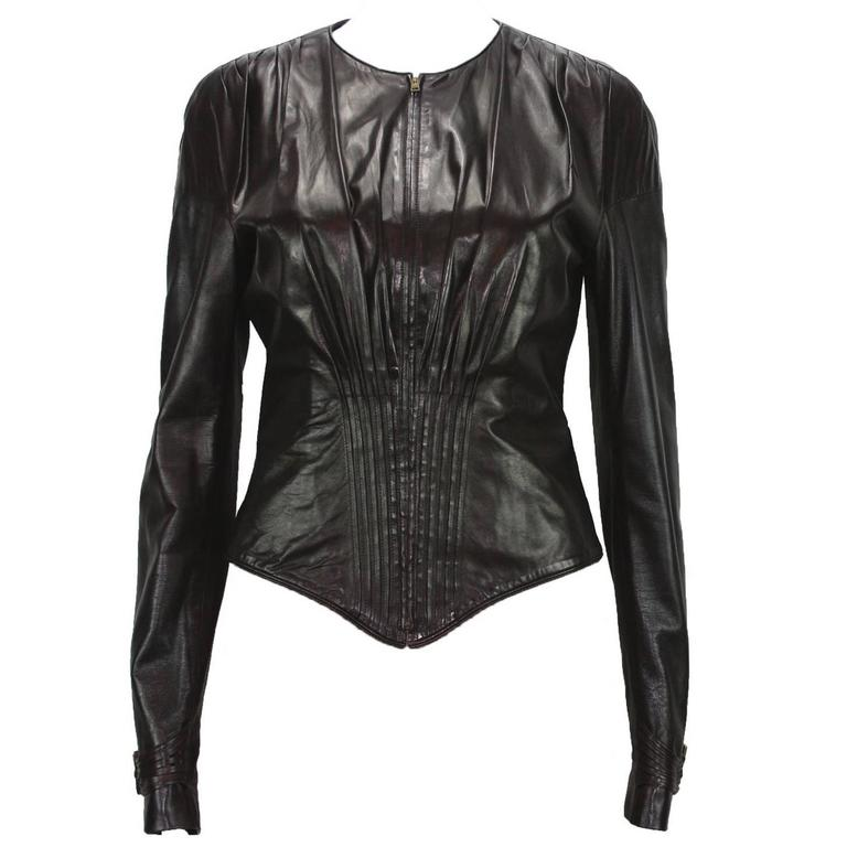 TOM FORD for GUCCI F/W 2003 Brown Super Soft Leather Jacket It 40 - US 4 For Sale