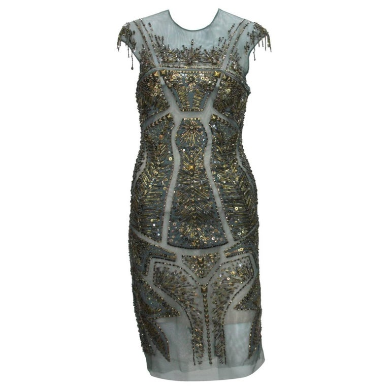 New Roberto Cavalli Fully Beaded Green Mesh Cocktail Corset Dress 40  For Sale