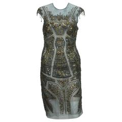 New Roberto Cavalli Fully Beaded Green Mesh Cocktail Corset Dress 40