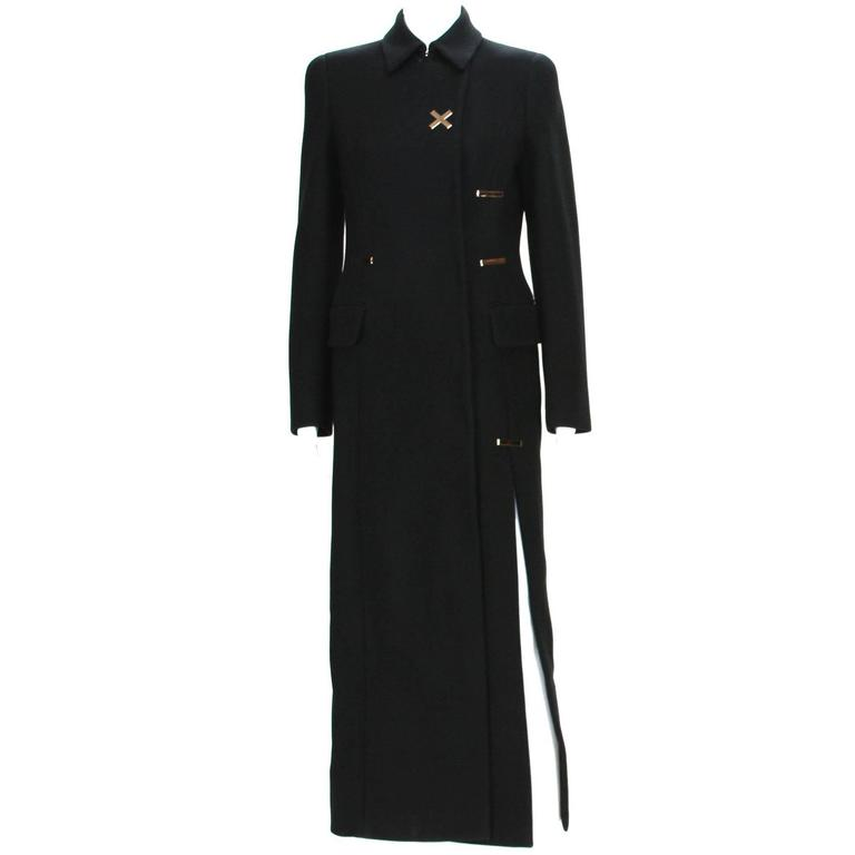 New Versace Runway Long Wool Black High-Slit Coat  It. 38