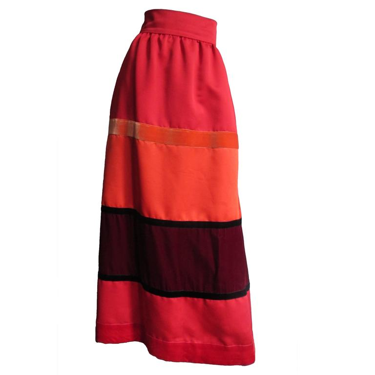1970s Malcolm Starr Color Block Maxi Skirt