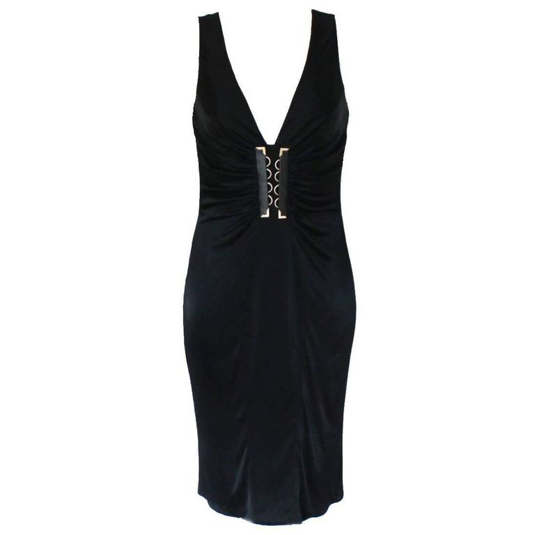 Stunning Versace Black Jersey & Leather Trim Dress 1