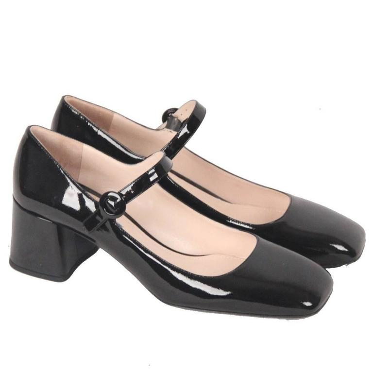 PRADA Black Patent Leather MARY JANE PUMPS Shoes SIZE 40 1 2 For Sale 1be5690cb9c9