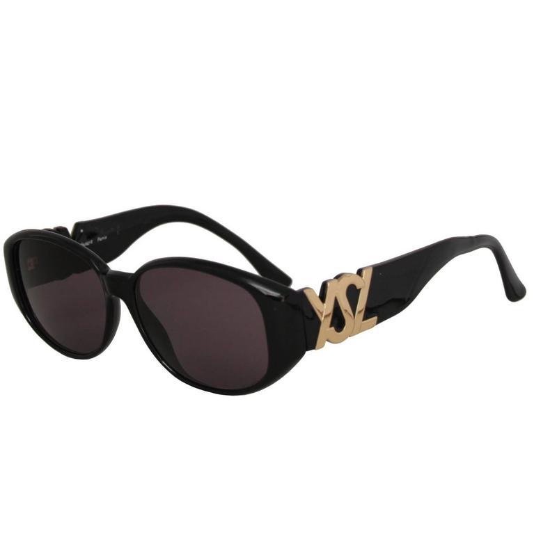 1990s Yves Saint Laurent Black Frame Sunglasses W. Gold 'YSL' Detail 1