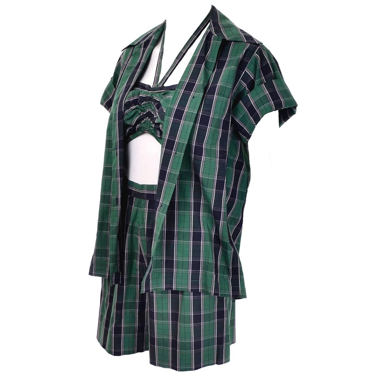 Dorothy Cox for McMullen Green Plaid Shorts Shirt & Halter Bandeau Top Playsuit