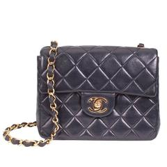 Chanel Navy Blue Quilted Lambskin Shoulder Bag from 2000