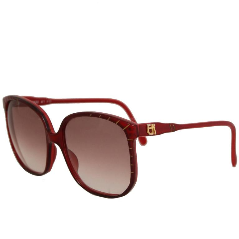 A Pair of 1970s Emmanuelle Kahn Paris Red Frame Sunglasses 1
