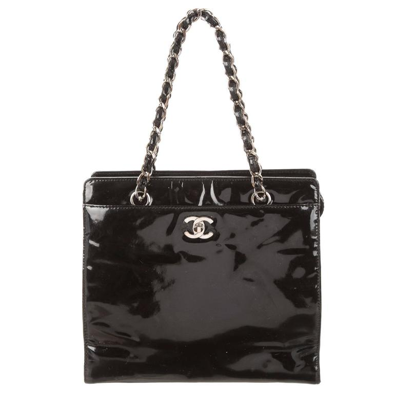 e8af925b5c9a Chanel black patent leather small shopper evening top handle bag for sale  jpg 768x768 Chanel small