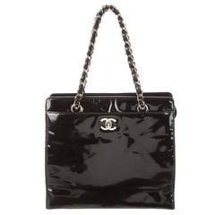 Chanel Black Patent Leather Small Shopper Evening Top Handle Bag