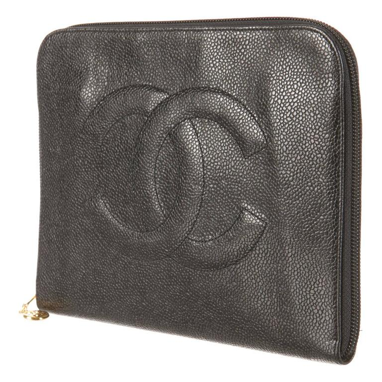 87f9dc3011910f Chanel Black Caviar Leather Zip Around Men Women Carryall Travel Case  Clutch Bag For Sale