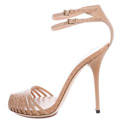 Gucci NEW & SOLD OUT Nude Leather Cut Out Double Strap Heels in Box
