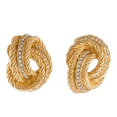 Christian Dior Vintage Textured Gold Crystal Stud Evening Earrings