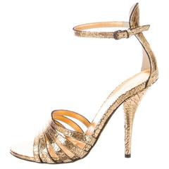Bottega Veneta NEW & SOLD OUT Gold Leather Crackle Ankle Strap Evening Heels