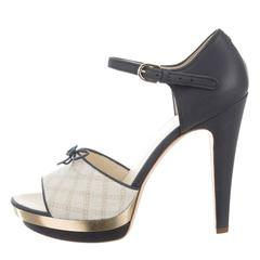Chanel NEW & SOLD OUT Leather Tweed Bow Mary Jane Heels Pumps in Box