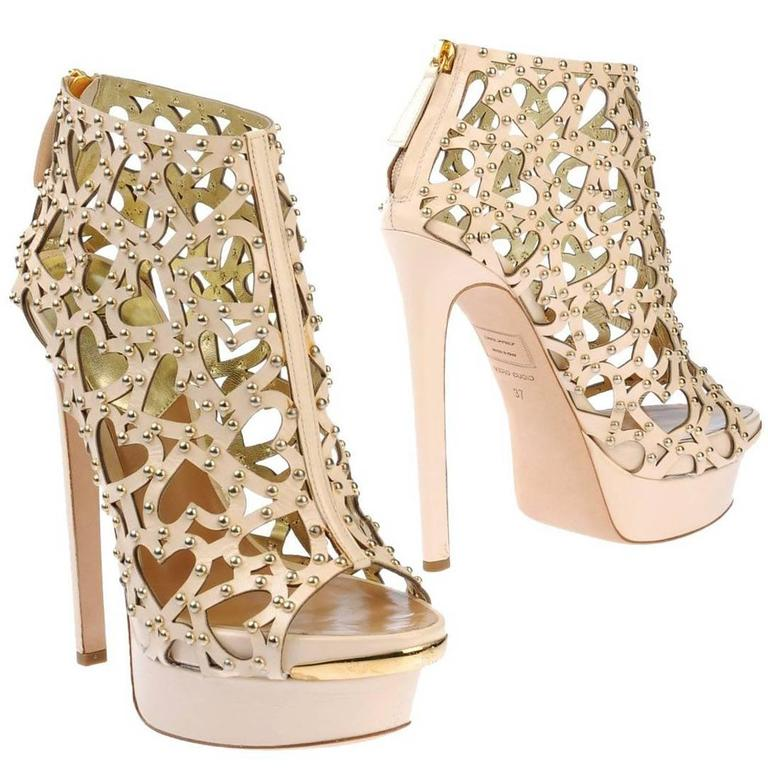 New $2150 DSQUARED2 Heart Cut Out Studded Platform Leather Beige Boots 38 - 8