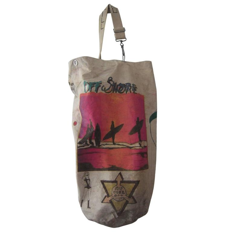 French Marine Sailor Duffel Bag Hand Painted