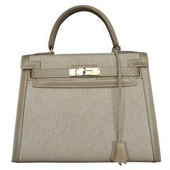 Hermès Bi Matiere Toile Leather Beige GHW 28 cm Kelly Sellier Bag