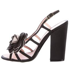 Chanel NEW & SOLD OUT Black Flower Cut Out Wedge Sandals Heels in Box