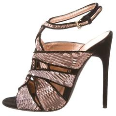 Tom Ford NEW & SOLD OUT Sequin Suede Cut Out Sandals Evening Heels