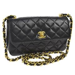 Chanel Vintage Classic Black Lambskin Small Evening Flap Shoulder Bag
