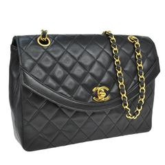 Chanel Vintage Lambskin Single Double Strap Evening Flap Shoulder Bag