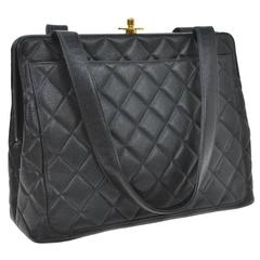 Chanel Black Caviar Leather Turnlock Evening Top Handle Shoulder Bag