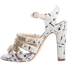 Chanel NEW & SOLD OUT Multi Color Gold Chain Pearl Heels in Box