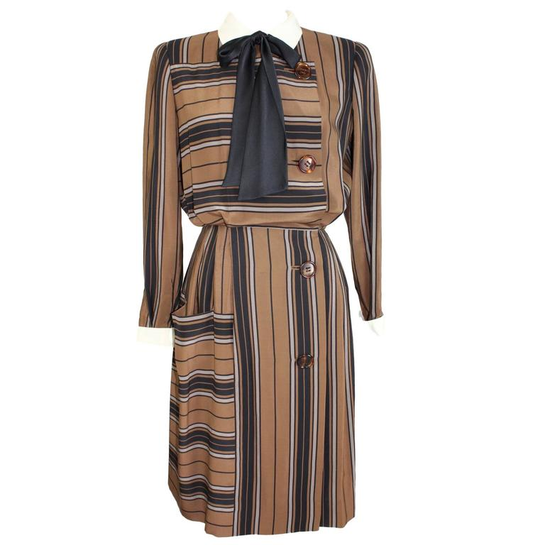 1980s Salvatore Ferragamo Brown and Black Silk Empire Waist Dress For Sale