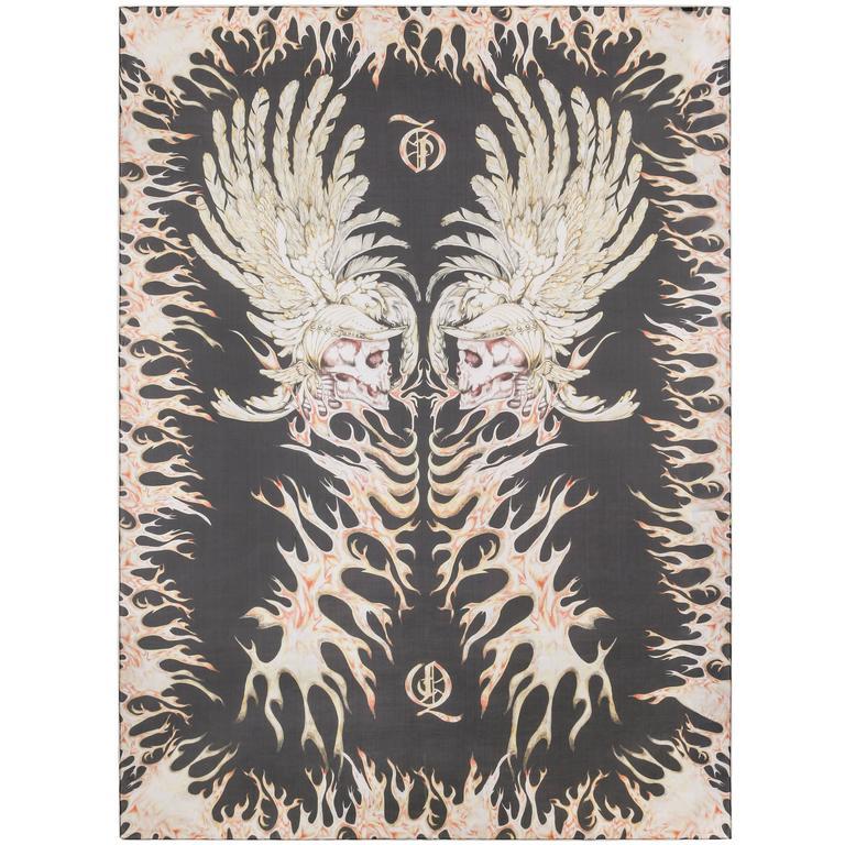 "ALEXANDER McQUEEN A/W 2010 ""Angels & Demons"" Flaming Skull Print Silk Scarf RARE"