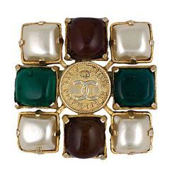 Chanel  Logo Coin Medallion Cruciform Brooch