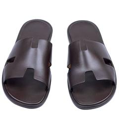 Hermes Men Sandals Izmir Veau Leather Moka Color 43 Size 2016