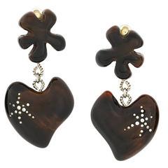 Christian Lacroix Love heart crystal earrings 90s