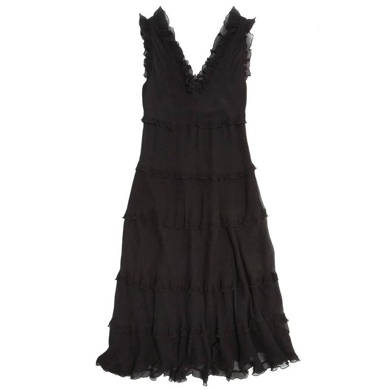 Cacharel Black Silk Long Dress