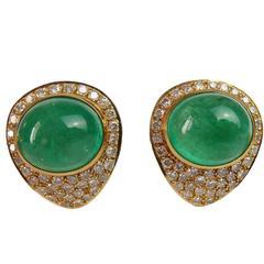 14,3 Carat Emerald Cabochon and 4,62 Carat Diamond Earrings 18 Karat Gold