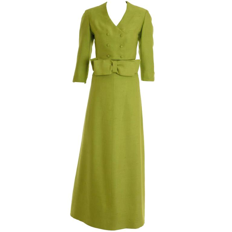 1960s Italian Couture Apple Green Long Suit Dress 3 pc