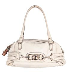 GUCCI Ivory Leather MINI WAVE BOSTON BAG Satchel