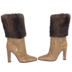 Dolce & Gabbana Camel Alligator & Mink Fur Buckle Boots 39