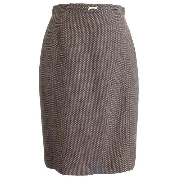 1980s Escada By Margaretha Ley Brown & Black Pique Wool Pencil Skirt  For Sale