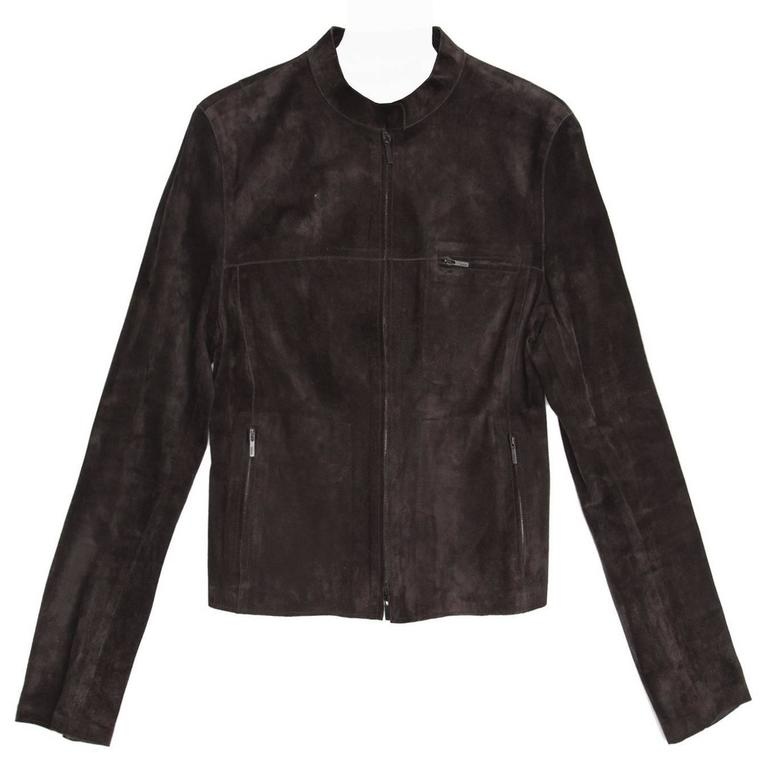 Gucci Brown Suede Cropped Jacket For Sale at 1stdibs