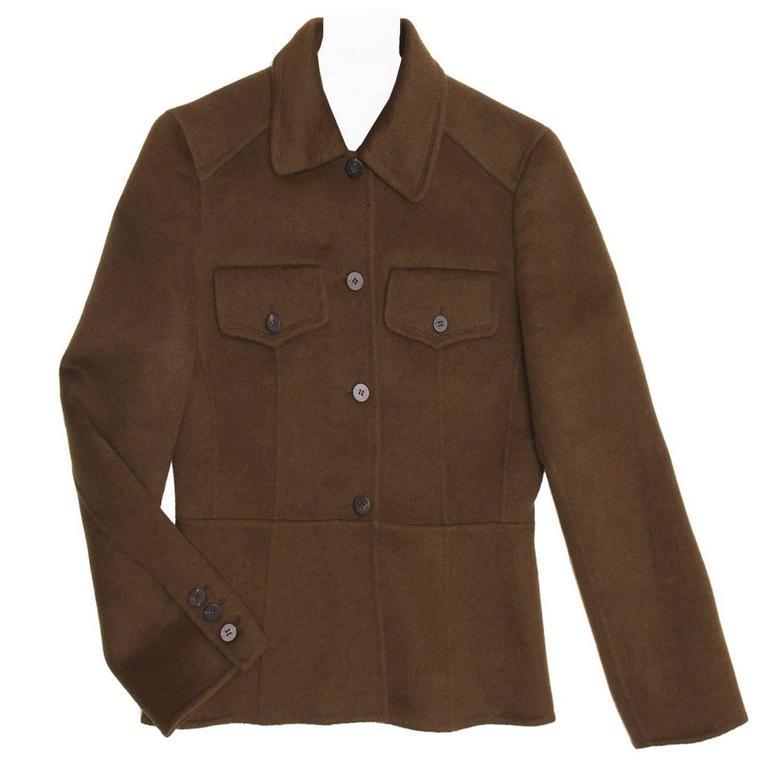 Prada Olive Angora Military Jacket