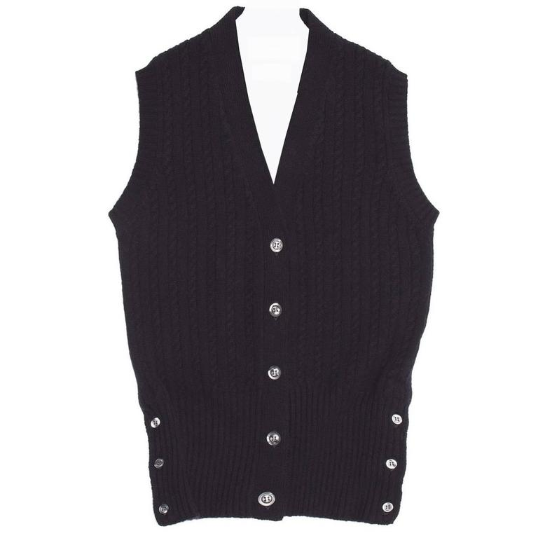Thom Browne Navy Blue Cashmere Cable Vest