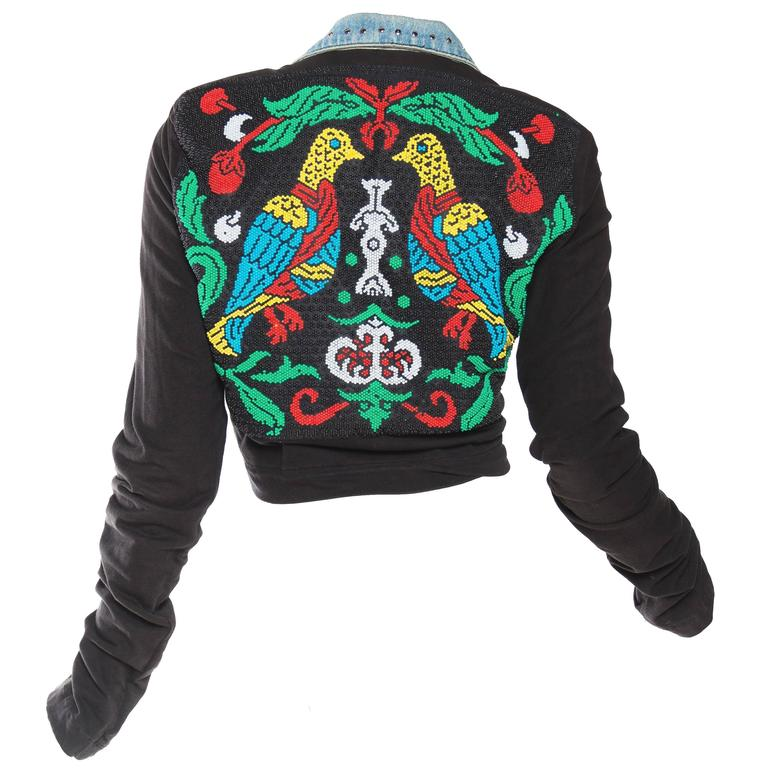 Gucci style Studded Denim Jacket with Dramatic Embellished Back