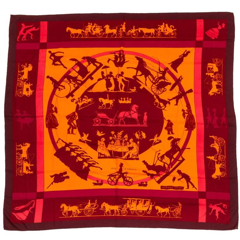 Hermes Cashmere Silk Jeux D'Ombres Shawl Scarf For Sale