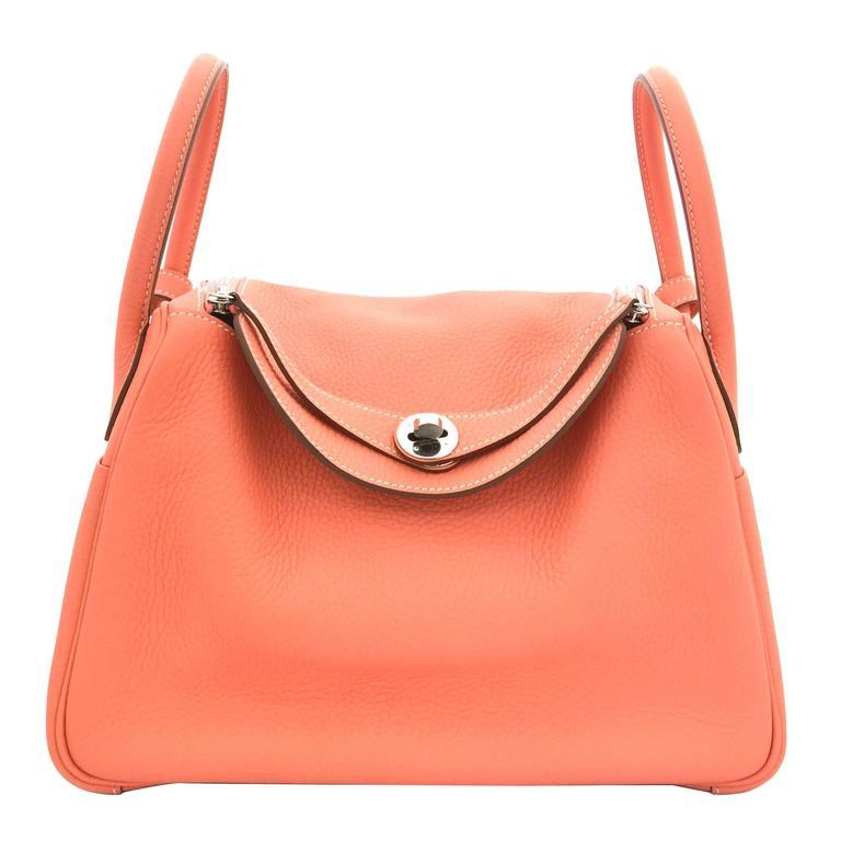 Hermes Lindy 30 Flamingo Clemence Leather SHW Shoulder Bag 1