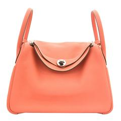 Hermes Lindy 30 Flamingo Clemence Leather SHW Shoulder Bag