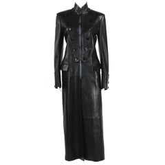 Tom Ford for Yves Saint Laurent F/W 2001 Black Leather Long Military Style Coat