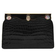1950s Black Crocodile Clutch with Hand Painted Enamel Cameos